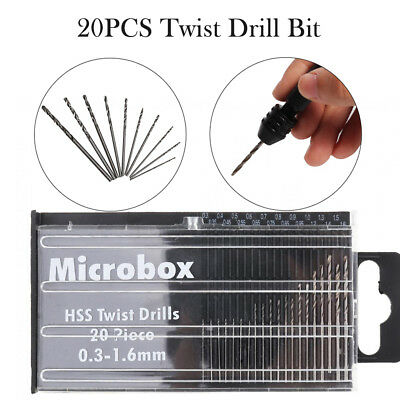 New Set of 20PCS 0.3mm-1.6mm Small Micro HSS Titanium Hand Twist Drill Bit Craft