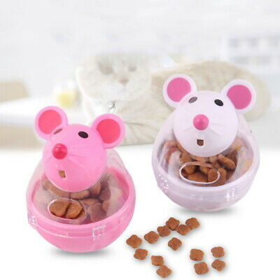 Pet Cat Dog Tumbler Feeder Leakage Food Dispenser Mice Shape Treat Ball toys UK