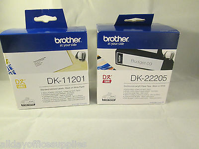 Original Brother DK-22205, DK-11201 Black on White Label for Brother QL Printers