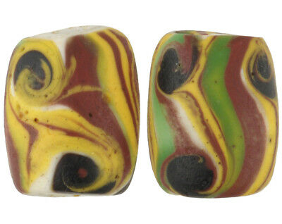 Old African trade beads oval Fancy Venetian wound glass trail decorations pair