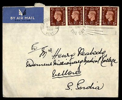 Tunbridge Wells Great Britain January 1938 Airmail Cover To Vellore Back Stamp