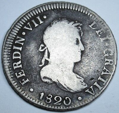 1820 JP Spanish Silver 2 Reales Piece of 8 Real Colonial Pirate Treasure Coin