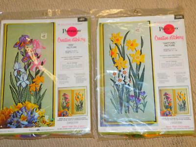 PAIR 2 Vintage PARAGON CREWEL Embroidery KITS Iris & Daffodil Picture Sealed