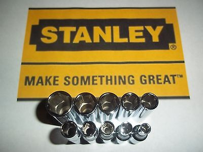 """NEW STANLEY 10pc SAE STANDARD 1/4"""" DRIVE 6 POINT DEEP WELL SOCKET SET TOOLS LOT"""