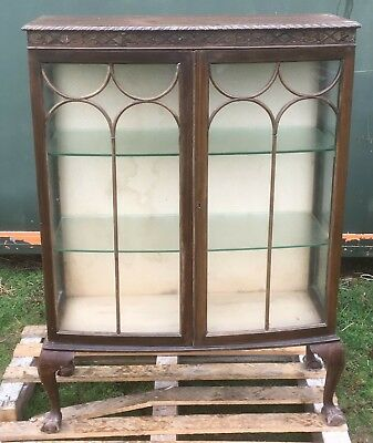 Antique / Vintage Pine Glass Display Cabinet