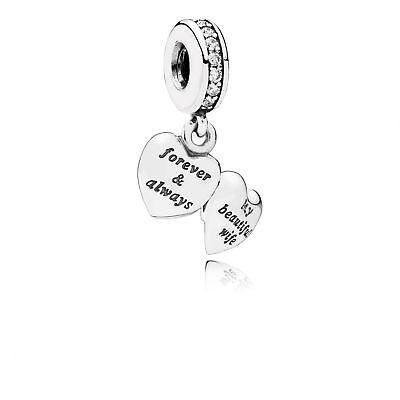 New Authentic Genuine Pandora Sterling Silver My Beautiful Wife Charm - 791524CZ