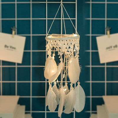 Cloud Feather Dream Catcher Hanging Birthday Home Bedroom Car Decor W/LED Light