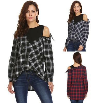 a1ab716ac6e6b Women One Piece Long Sleeve Casual Crop Top Patchwork Plaid Button T9G1