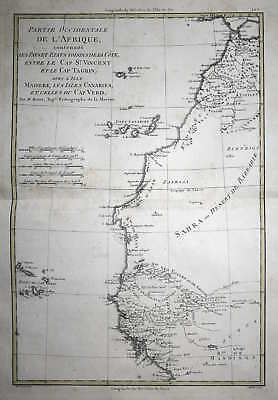 1780 Africa Cape Verde Canary Islands Karte map Kupferstich copper engraving