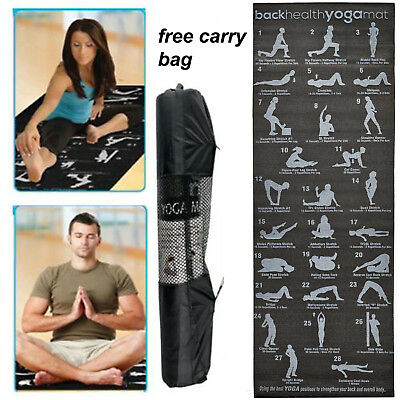 28 Position Gym Exercise Guide Yoga Mat Fitness Pilates Workout Physio Non Slip