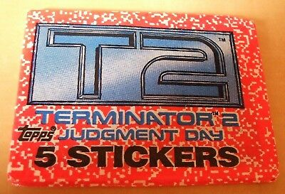 Topps 1991 T2 Terminator 2 Judgement day wax pack of bubble gum trading stickers