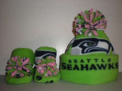 5ccc7992bc9 SEAHAWKS BABY girl HAT HANDMADE newborn BEANIE   BOOTIES FLEECE pink NFL  SEATTLE