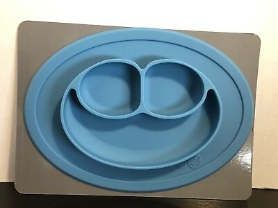 Ezpz Mini Mat One Piece Silicone Placemat Plate Suction Blue Compact Lightweight