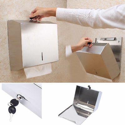 Stainless Steel Wall Mounted Hand Paper Towel Dispenser Holder Toilet Bathroom