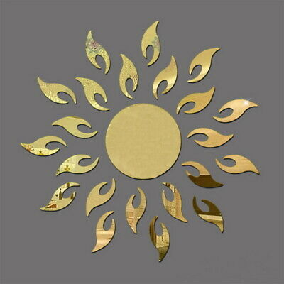 3D Sun Acrylic Mirror Effect Removable Wall Sticker Decal Room Mural Decor UK