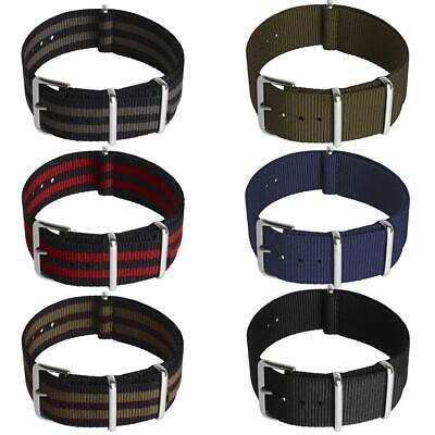 Nato Watch Strap Nylon Men Wrist 18mm 20mm 22mm Smart Military Pin Straps