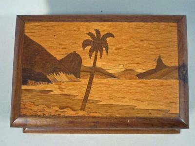 STUNNING VINTAGE MARQUETRY INLAID CIGARETTE BOX with RISING 40 CIG DISPENSER