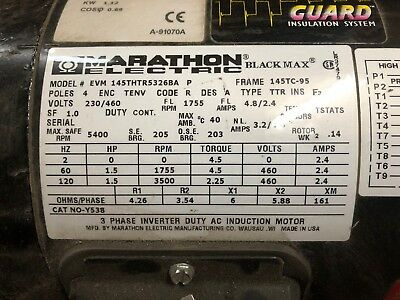 Marathon Motors 1.5 Hp 145Thtr5326 230/460V Never Used