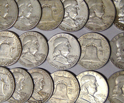Lot of 20 Franklin Silver Half Dollars $10 Face Value 90% Silver Coins