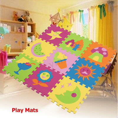 9PCS Soft Foam EVA Floor Mat Jigsaw Tiles Interlocking Play Kids Baby Puzzle Mat