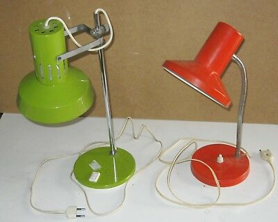 Lot 2 Lampes De Bureau Vintage Orange Et Verte Annees 70-80