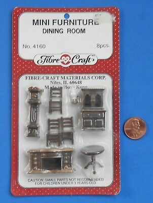 Vintage Tiny Miniature Dollhouse Furniture In Package Dining Room 1:48 scale