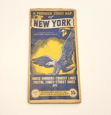 Vintage 1950's Premier Map of New York 35C Geographia Map Co.