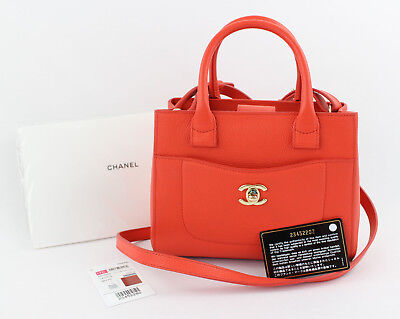 9be7662854445e Chanel NWT Auth Orange Caviar Leather Small Shopper Tote Crossbody Handbag  17C