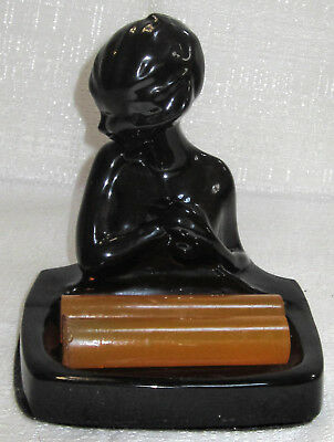 Frankart art deco nymph card desk tray ashtray soapdish black metal made in USA