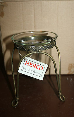 Herco Iron Art  Antique Brass Wrought Iron Candle Holder with Glass Votive