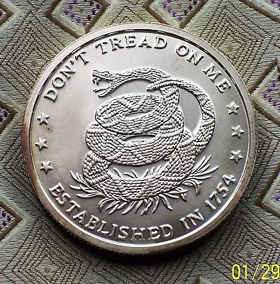 "1 Troy Oz. .999 Fine Silver Boulion Round ""dont Tread On Me"" ( Itm#8108 )"