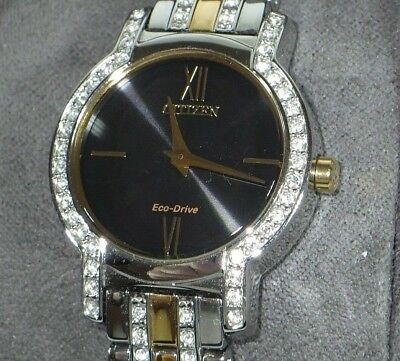 Citizen EW-1244-51E Women's Eco-Drive Two-Tone Crystal Accented Silhouette Watch