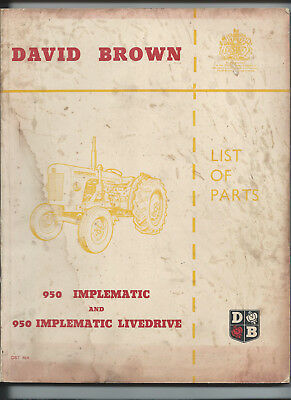 David Brown  DB 950 Implematic Livedrive Parts Book