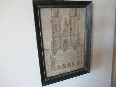 Rare 1937/38 Watercolor Church of Our Lady before Týn Prague Czech Republic Sign