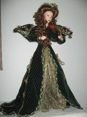 Rejoicing Angel Franklin Heirloom L/E Doll w Violin Wearing Green Velvet Satin G