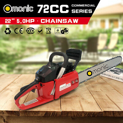 "Omonic 72cc Petrol Commercial Chainsaw 22"" Bar Chain Saw 2-Stroke Tree Pruning S"