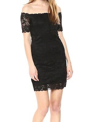 bdfb9329494 Guess NEW Black Womens Size Small S Lace Off-The-Shoulder Bodycon Dress  89