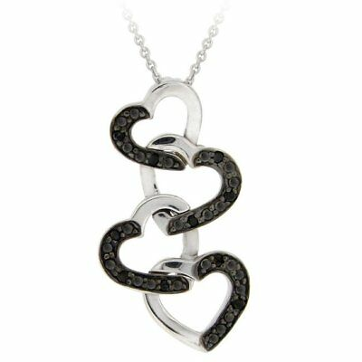 DB Designs Sterling Silver 1/10ct TDW Black Diamond Dangling Heart Necklace