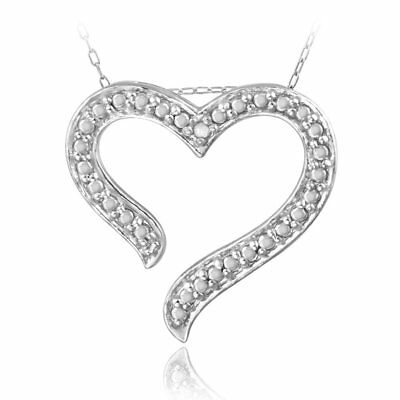 DB Designs Sterling Silver Diamond Accent Open Heart Necklace