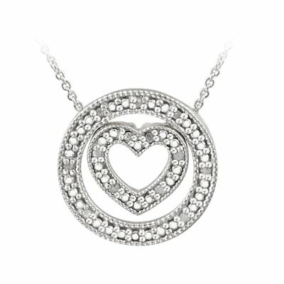 DB Designs Sterling Silver 1/5ct TDW Diamond Heart and Circle Necklace