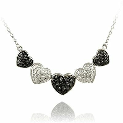DB Designs Sterling Silver Black Diamond Accent Heart Silver