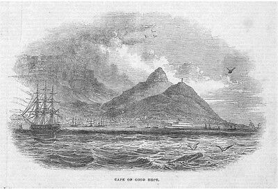 SOUTH AFRICA Cape Town, Cape of Good Hope - Antique Print 1843