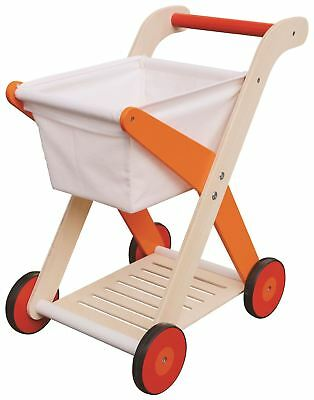 Lelin Wood Wooden Shopping Trolley Cart Pretend Play Toy For Children Kids
