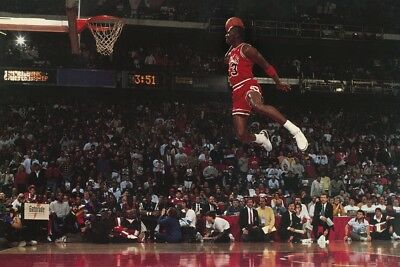 MICHAEL JORDAN Dunking Free Throw Line Famous Basketball Poster 24x36