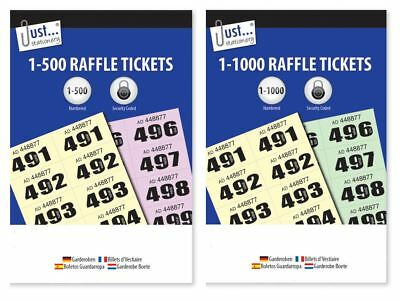 500 1000 Security Coded Numbered Cloakroom Raffle Tickets Tombola Draw Bulk Lot