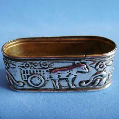 Vintage Sterling SILVER Farm Animal Donkey Pulling a Cart of Flowers Napkin Ring