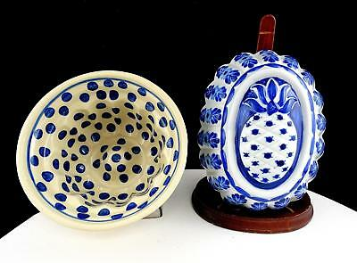 """Thailand Porcelain 2 Piece Pineapple And Blue Dots 6 1/8"""" Hanging Food Molds"""