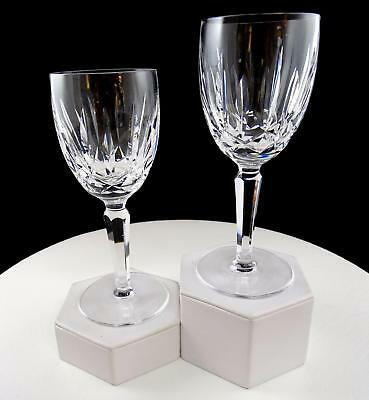 """Waterford Crystal 2 Pc Kildare Vertical Criss Cross 6 1/2"""" Claret Wine Glasses"""