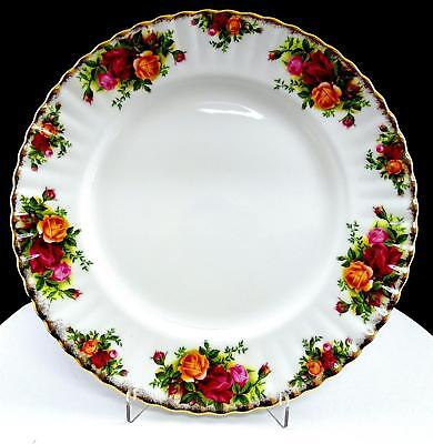 "Royal Albert Old Country Roses Montrose Fluted Brushed Gold 10 3/8"" Dinner Plate"