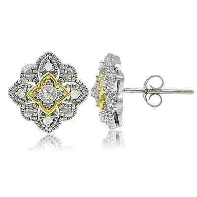 DB Designs Sterling Silver Two-Tone 1/10ct TDW Diamond Filigree Clover Stud